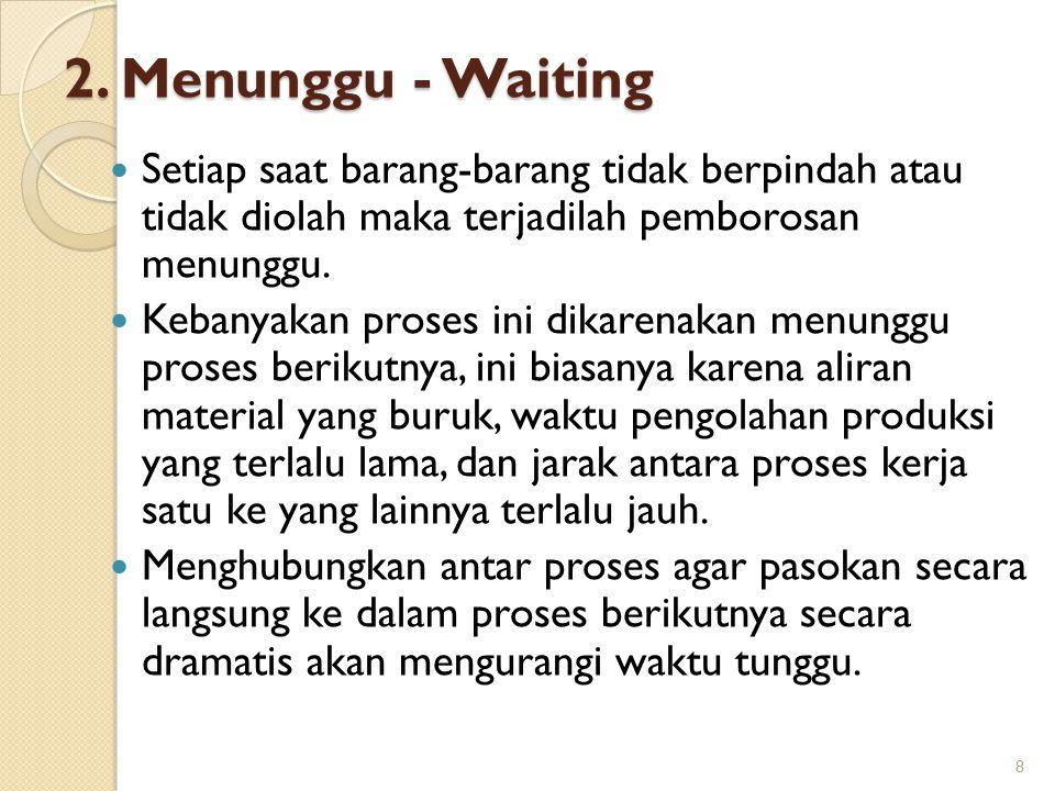 2. Menunggu - Waiting Setiap saat barang-barang tidak berpindah atau tidak diolah maka terjadilah pemborosan menunggu. Kebanyakan proses ini dikarenak