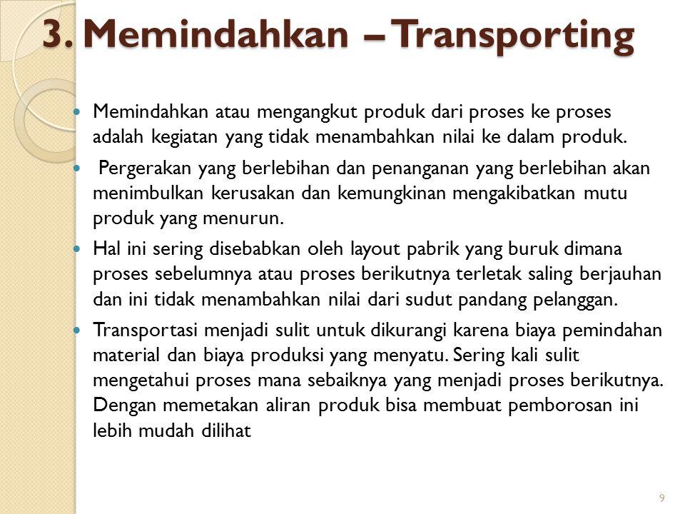3. Memindahkan – Transporting Memindahkan atau mengangkut produk dari proses ke proses adalah kegiatan yang tidak menambahkan nilai ke dalam produk. P