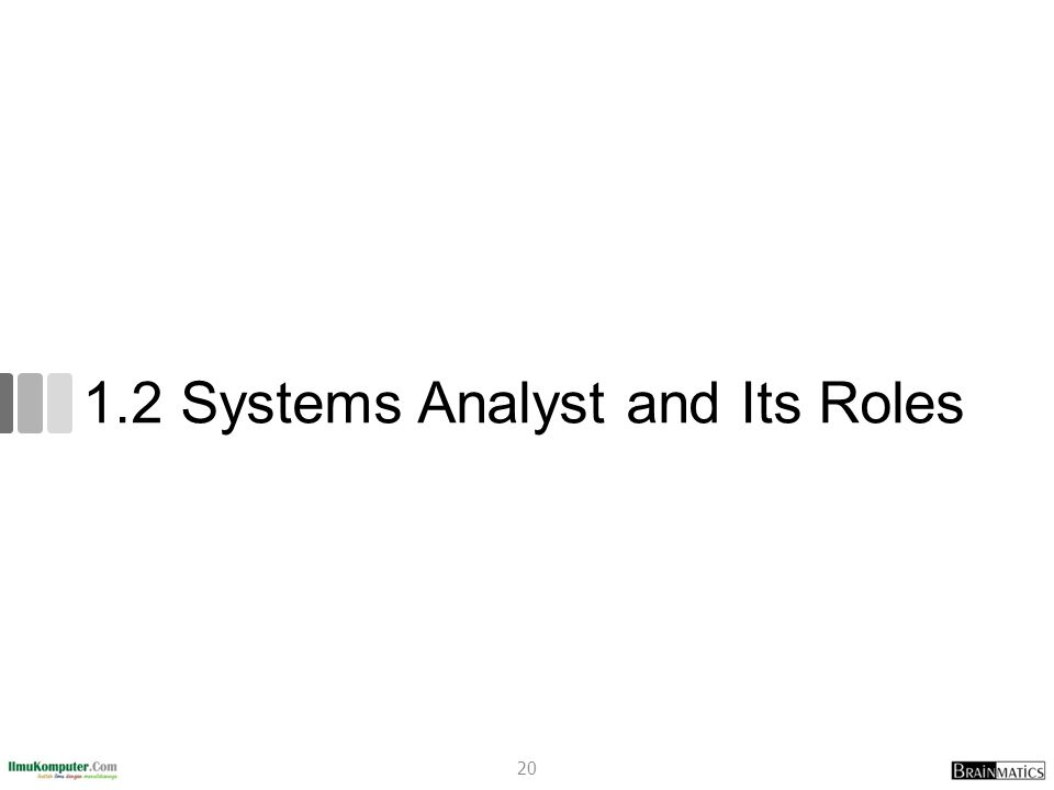 1.2 Systems Analyst and Its Roles 20