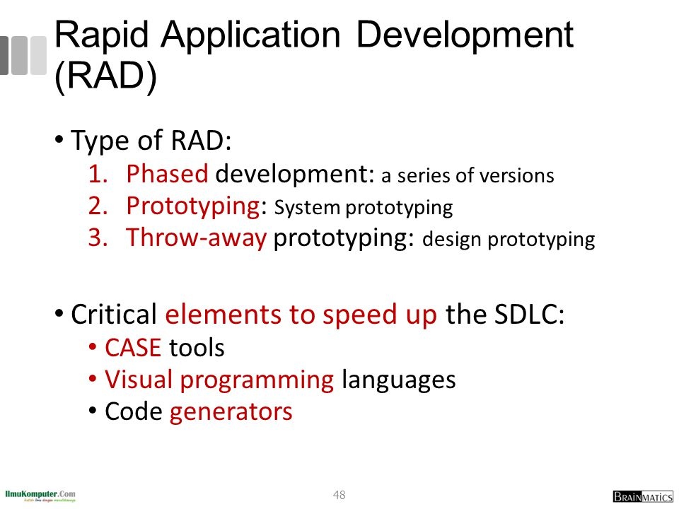 Rapid Application Development (RAD) Type of RAD: 1.Phased development: a series of versions 2.Prototyping: System prototyping 3.Throw-away prototyping