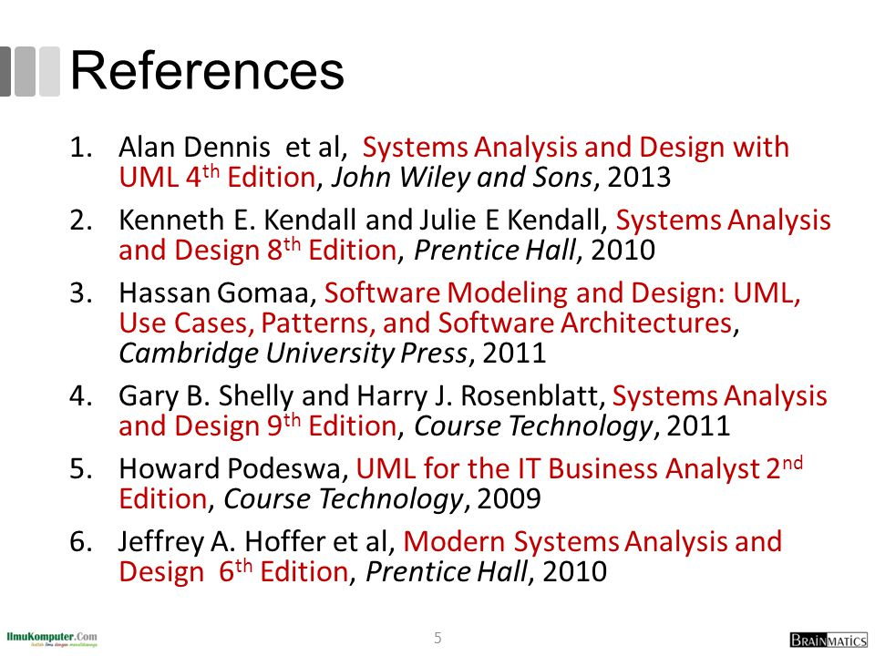 References 1.Alan Dennis et al, Systems Analysis and Design with UML 4 th Edition, John Wiley and Sons, 2013 2.Kenneth E. Kendall and Julie E Kendall,