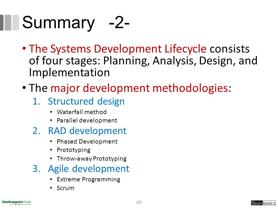 Summary -2- The Systems Development Lifecycle consists of four stages: Planning, Analysis, Design, and Implementation The major development methodolog