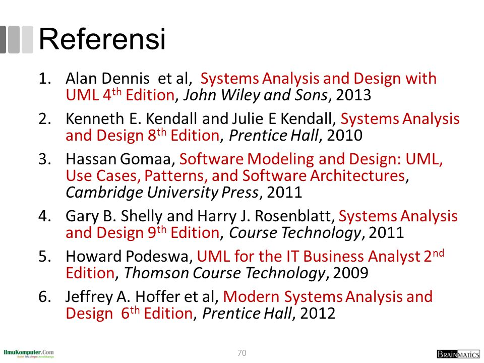 Referensi 1.Alan Dennis et al, Systems Analysis and Design with UML 4 th Edition, John Wiley and Sons, 2013 2.Kenneth E. Kendall and Julie E Kendall,
