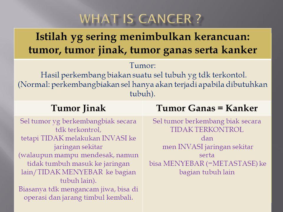 Istilah yg sering menimbulkan kerancuan: tumor, tumor jinak, tumor ganas serta kanker Tumor: Hasil perkembang biakan suatu sel tubuh yg tdk terkontol.