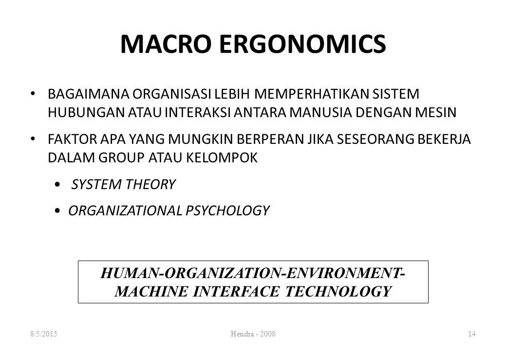 MACRO ERGONOMICS BAGAIMANA ORGANISASI LEBIH MEMPERHATIKAN SISTEM HUBUNGAN ATAU INTERAKSI ANTARA MANUSIA DENGAN MESIN FAKTOR APA YANG MUNGKIN BERPERAN JIKA SESEORANG BEKERJA DALAM GROUP ATAU KELOMPOK SYSTEM THEORY ORGANIZATIONAL PSYCHOLOGY HUMAN-ORGANIZATION-ENVIRONMENT- MACHINE INTERFACE TECHNOLOGY 8/5/2015Hendra - 200814