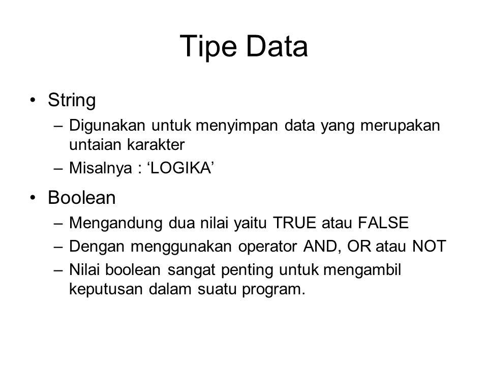 Tipe Data String –Digunakan untuk menyimpan data yang merupakan untaian karakter –Misalnya : 'LOGIKA' Boolean –Mengandung dua nilai yaitu TRUE atau FA