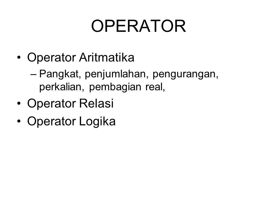 OPERATOR Operator Aritmatika –Pangkat, penjumlahan, pengurangan, perkalian, pembagian real, Operator Relasi Operator Logika