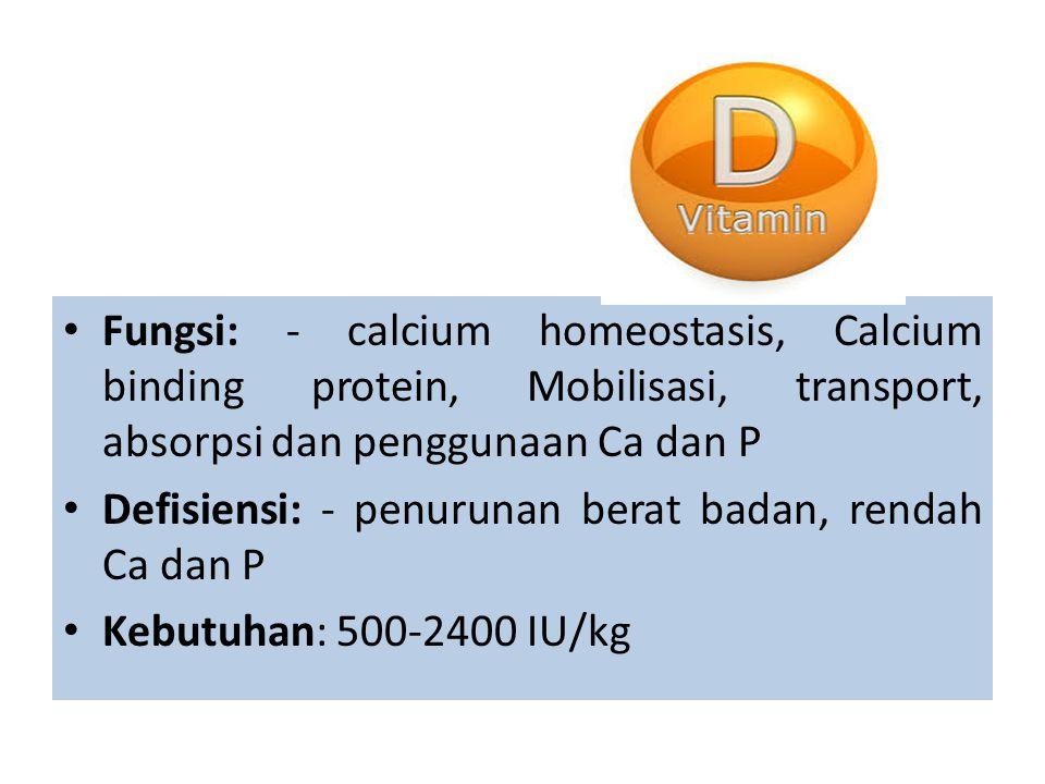 Fungsi: - calcium homeostasis, Calcium binding protein, Mobilisasi, transport, absorpsi dan penggunaan Ca dan P Defisiensi: - penurunan berat badan, rendah Ca dan P Kebutuhan: 500-2400 IU/kg