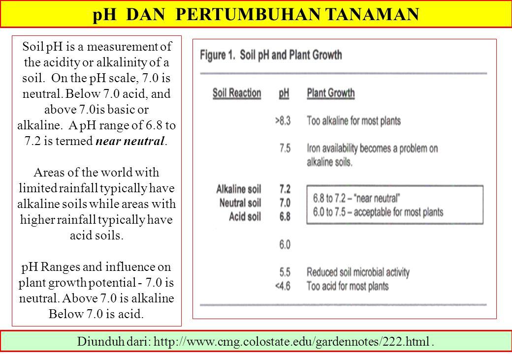 pH DAN PERTUMBUHAN TANAMAN Diunduh dari: http://www.cmg.colostate.edu/gardennotes/222.html.