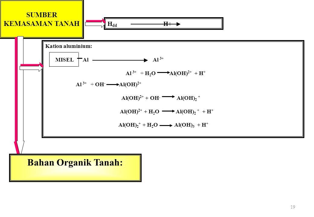 19 Kation aluminium: MISEL Al Al 3+ Al 3+ + H 2 O Al(OH) 2+ + H + Al 3+ + OH - Al(OH) 2+ Al(OH) 2+ + OH - Al(OH) 2 + Al(OH) 2+ + H 2 O Al(OH) 2 + + H + Al(OH) 2 + + H 2 O Al(OH) 3 + H + SUMBER KEMASAMAN TANAH H dd H+ Bahan Organik Tanah: