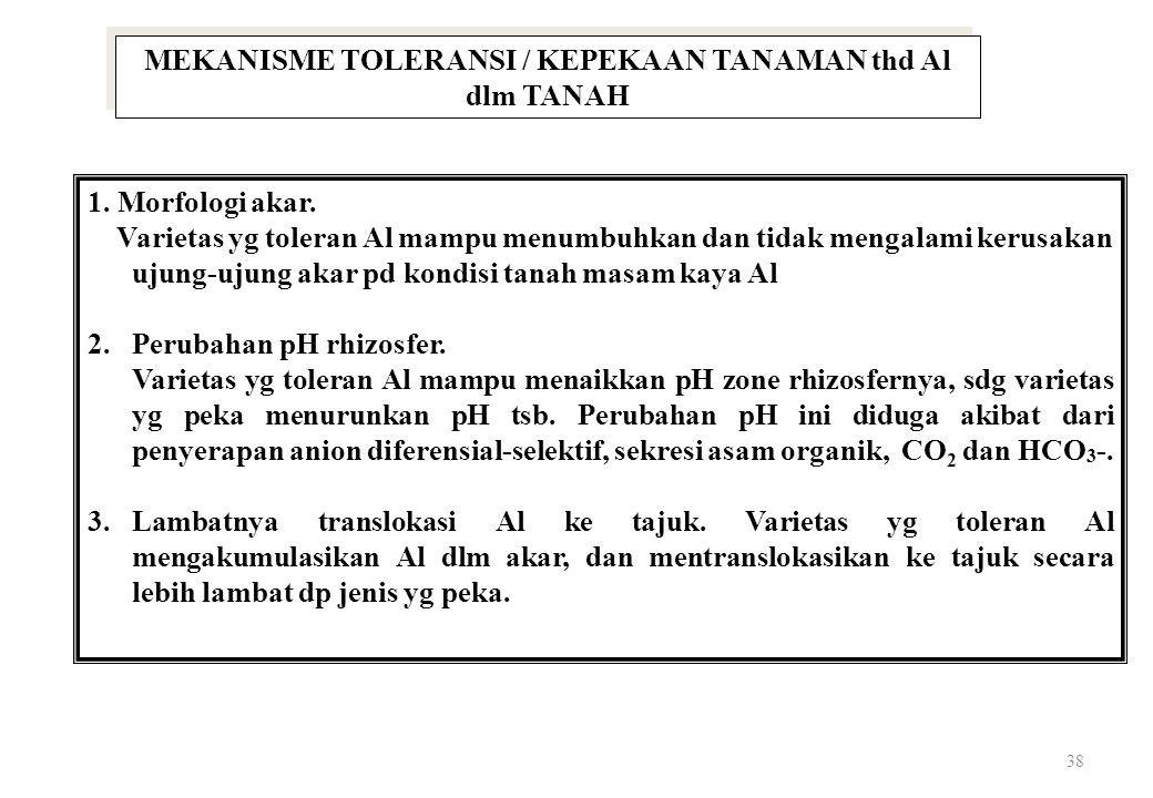 38 MEKANISME TOLERANSI / KEPEKAAN TANAMAN thd Al dlm TANAH 1.