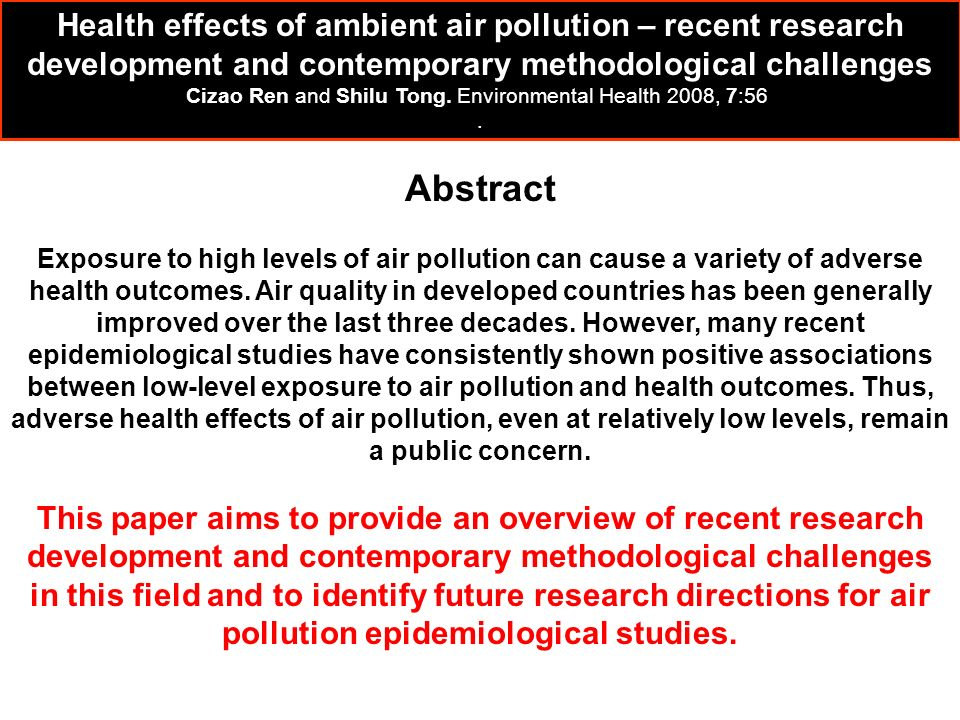 Abstract Exposure to high levels of air pollution can cause a variety of adverse health outcomes. Air quality in developed countries has been generall
