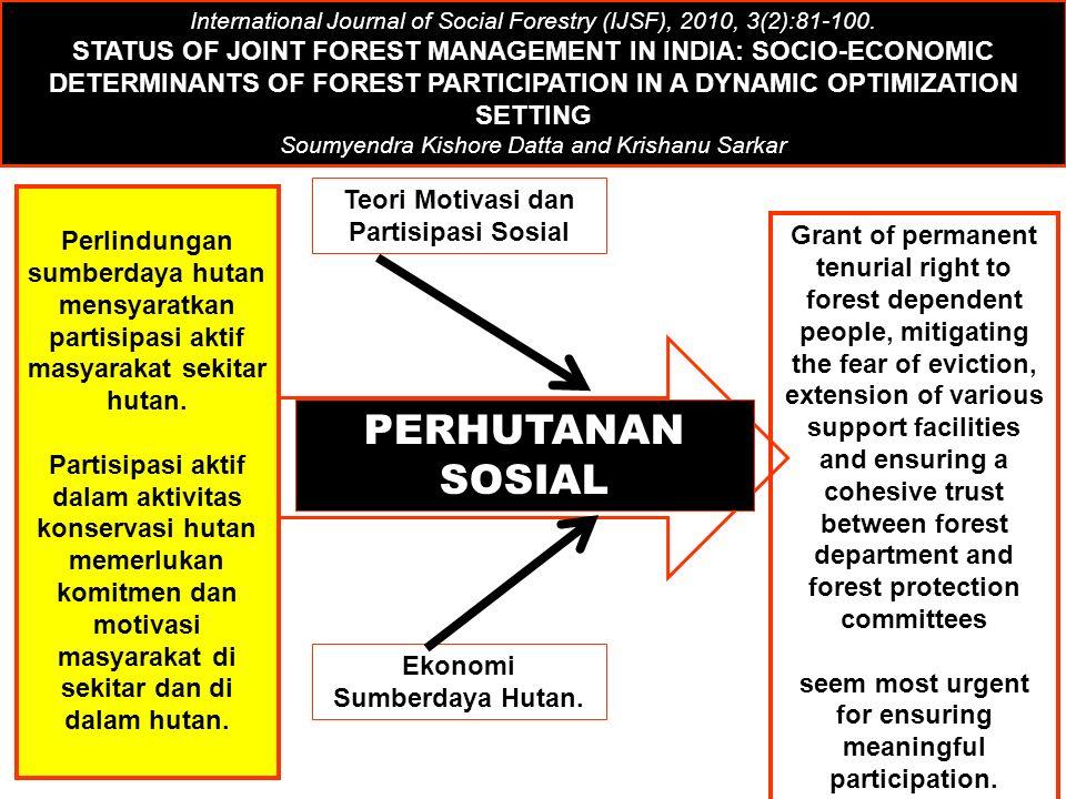 Teori Motivasi dan Partisipasi Sosial Ekonomi Sumberdaya Hutan.