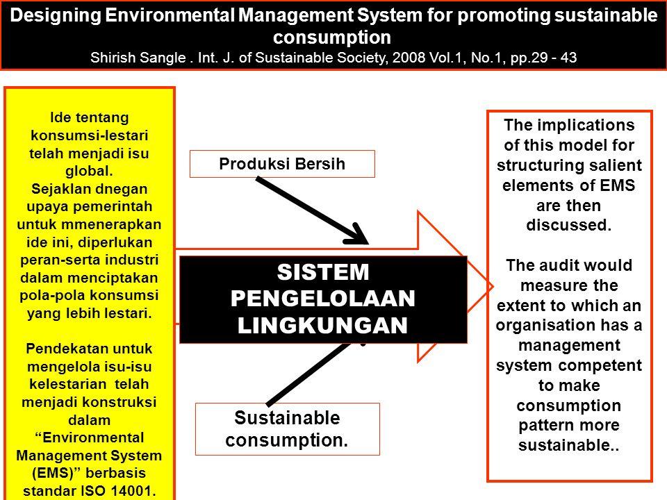 Produksi Bersih Sustainable consumption.