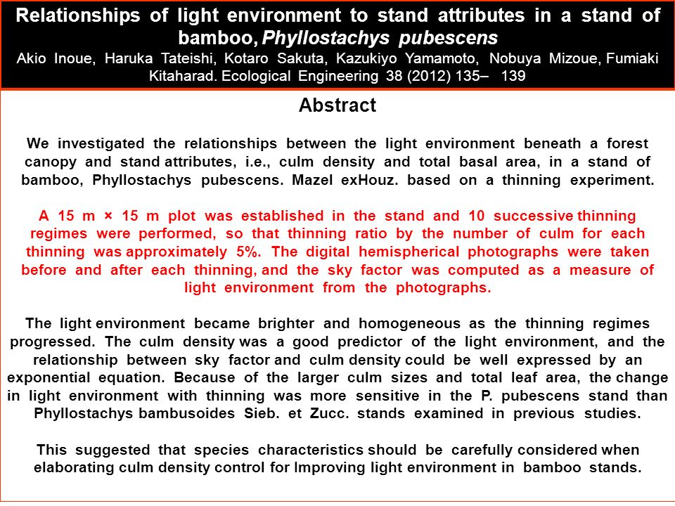 Abstract We investigated the relationships between the light environment beneath a forest canopy and stand attributes, i.e., culm density and total ba