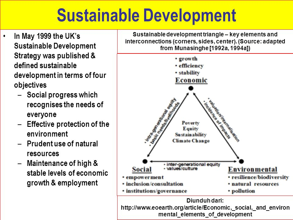 Sustainable Development In May 1999 the UK's Sustainable Development Strategy was published & defined sustainable development in terms of four objecti