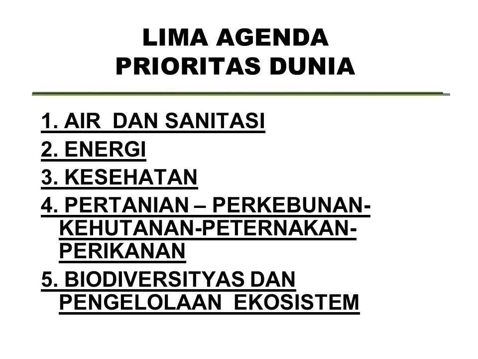 LIMA AGENDA PRIORITAS DUNIA 1.AIR DAN SANITASI 2.