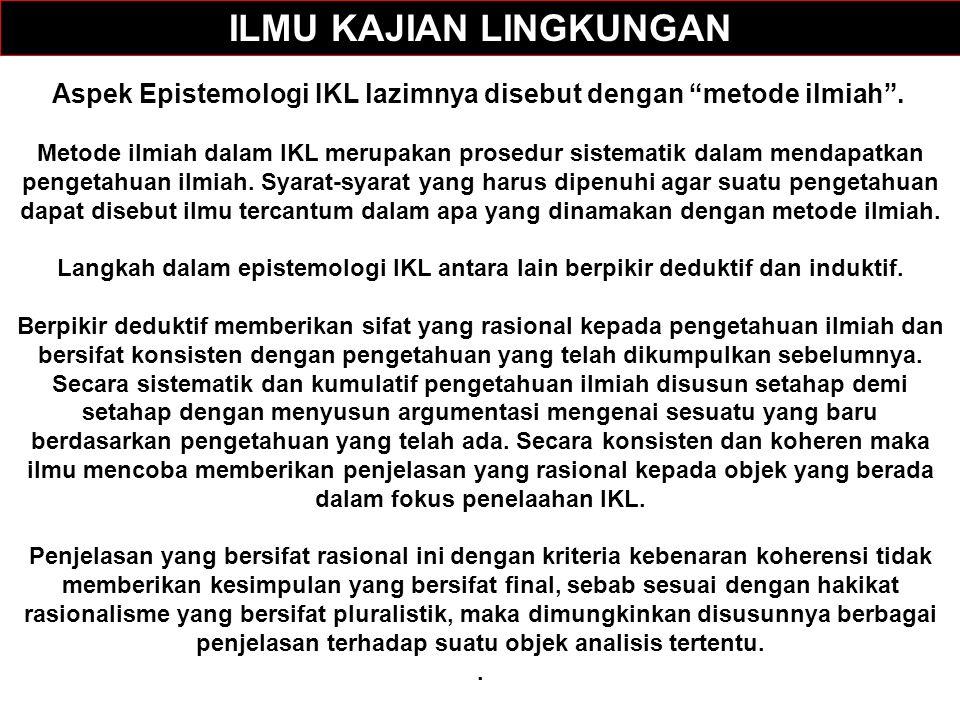 Aspek Epistemologi IKL lazimnya disebut dengan metode ilmiah .