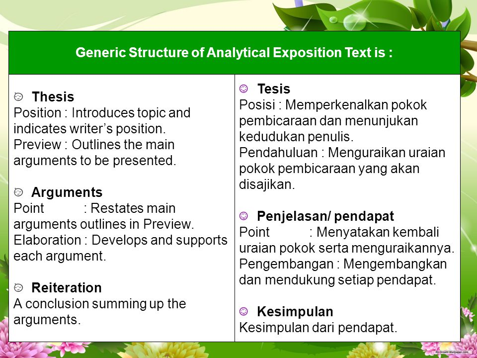 Generic Structure of Analytical Exposition Text is : Thesis Position : Introduces topic and indicates writer's position. Preview : Outlines the main a