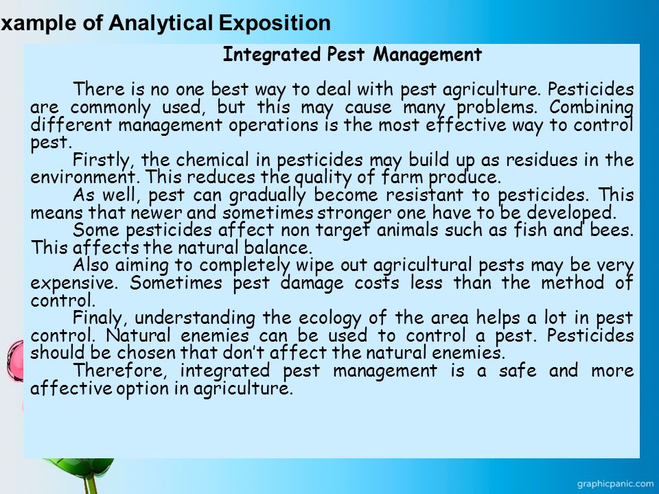 Example of Analytical Exposition Integrated Pest Management There is no one best way to deal with pest agriculture.