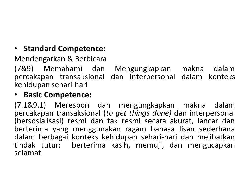 Standard Competence: Mendengarkan & Berbicara (7&9) Memahami dan Mengungkapkan makna dalam percakapan transaksional dan interpersonal dalam konteks kehidupan sehari-hari Basic Competence: (7.1&9.1) Merespon dan mengungkapkan makna dalam percakapan transaksional (to get things done) dan interpersonal (bersosialisasi) resmi dan tak resmi secara akurat, lancar dan berterima yang menggunakan ragam bahasa lisan sederhana dalam berbagai konteks kehidupan sehari-hari dan melibatkan tindak tutur: berterima kasih, memuji, dan mengucapkan selamat