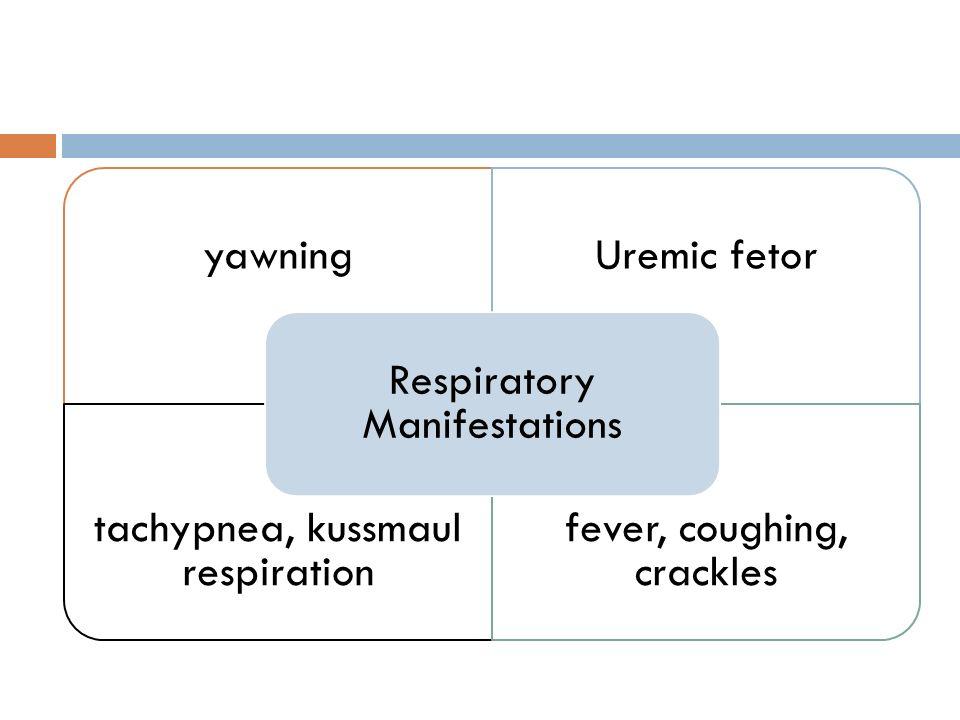 yawningUremic fetor tachypnea, kussmaul respiration fever, coughing, crackles Respiratory Manifestations