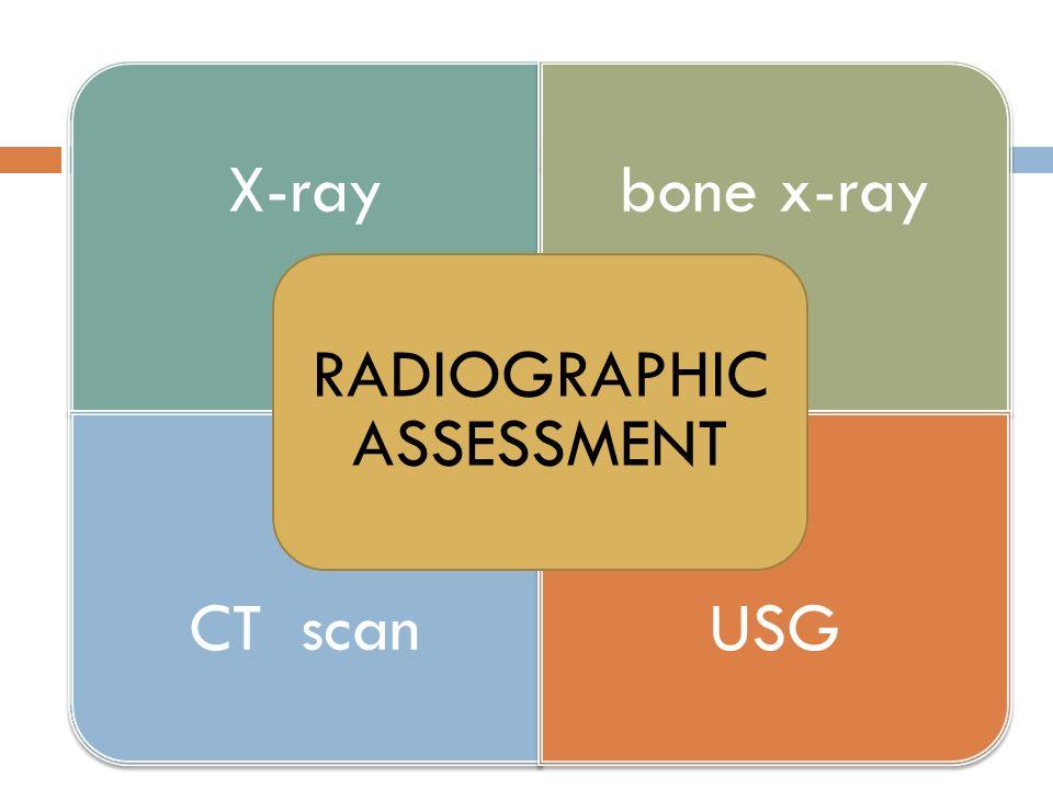 X-raybone x-ray CT scanUSG RADIOGRAPHIC ASSESSMENT