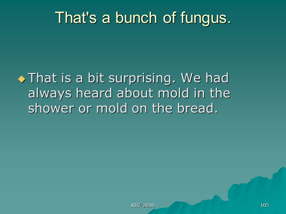 KRT-2010 105 That's a bunch of fungus.  That is a bit surprising. We had always heard about mold in the shower or mold on the bread.