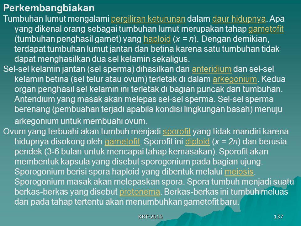 KRT-2010 137 Perkembangbiakan Tumbuhan lumut mengalami pergiliran keturunan dalam daur hidupnya. Apa yang dikenal orang sebagai tumbuhan lumut merupak
