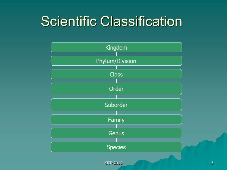 KRT-2010 5 Scientific Classification Kingdom Phylum/Division Class Order Suborder Family Genus Species