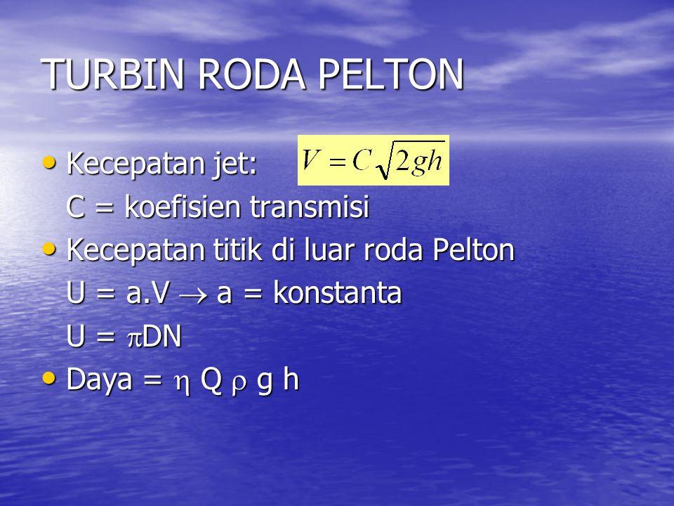 TURBIN RODA PELTON Kecepatan jet: Kecepatan jet: C = koefisien transmisi Kecepatan titik di luar roda Pelton Kecepatan titik di luar roda Pelton U = a.V  a = konstanta U =  DN Daya =  Q  g h Daya =  Q  g h