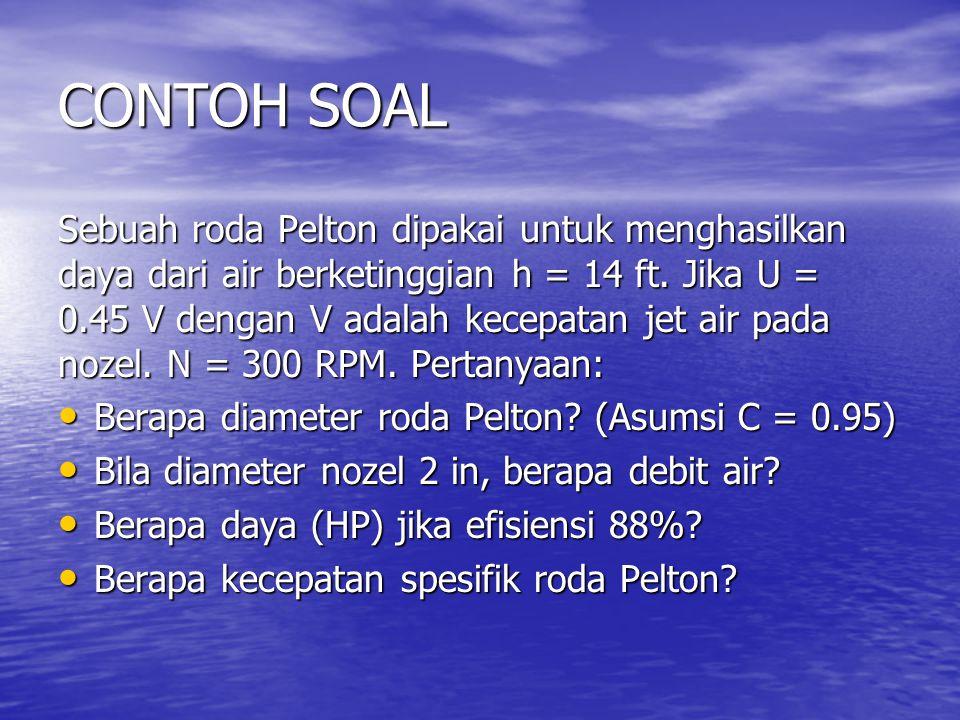 CONTOH SOAL Sebuah roda Pelton dipakai untuk menghasilkan daya dari air berketinggian h = 14 ft.