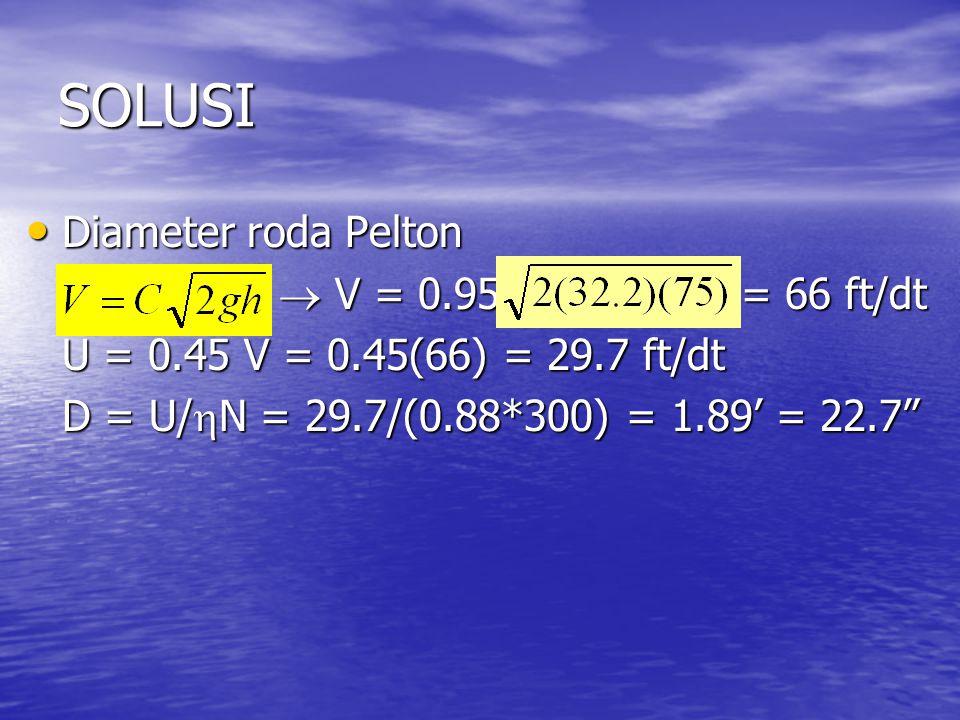 SOLUSI Diameter roda Pelton Diameter roda Pelton  V = 0.95 = 66 ft/dt  V = 0.95 = 66 ft/dt U = 0.45 V = 0.45(66) = 29.7 ft/dt D = U/  N = 29.7/(0.88*300) = 1.89' = 22.7