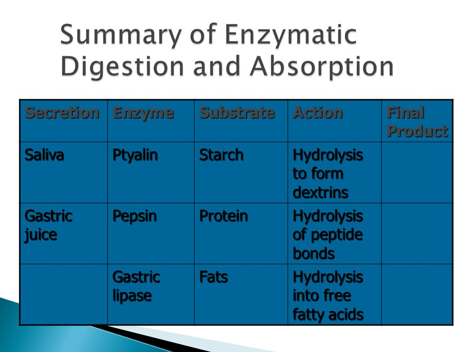 SecretionEnzymeSubstrateAction Final Product Pancreatic exocrine secretion LipaseFat Hydrolysis to mono- glycerides Fatty acids Cholesterol esterase Cholesterol Hydrolysis to esters of cholesterol and fatty acids Choles- terol alpha- Amylase Starch, dextrins Hydrolysis Dextrin, maltose