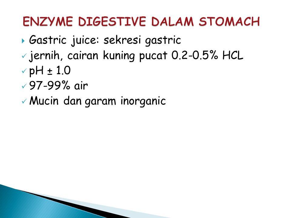  Gastric juice: sekresi gastric jernih, cairan kuning pucat 0.2-0.5% HCL pH ± 1.0 97-99% air Mucin dan garam inorganic