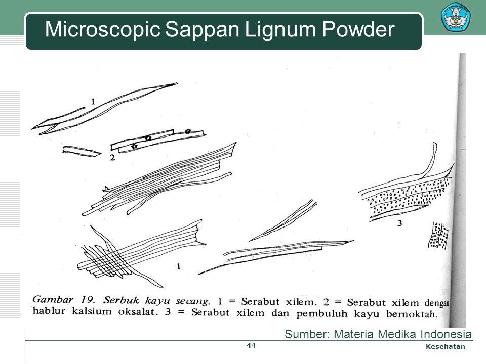 Microscopic Sappan Lignum Kesehatan Literature: Materia Medika Indonesia 43