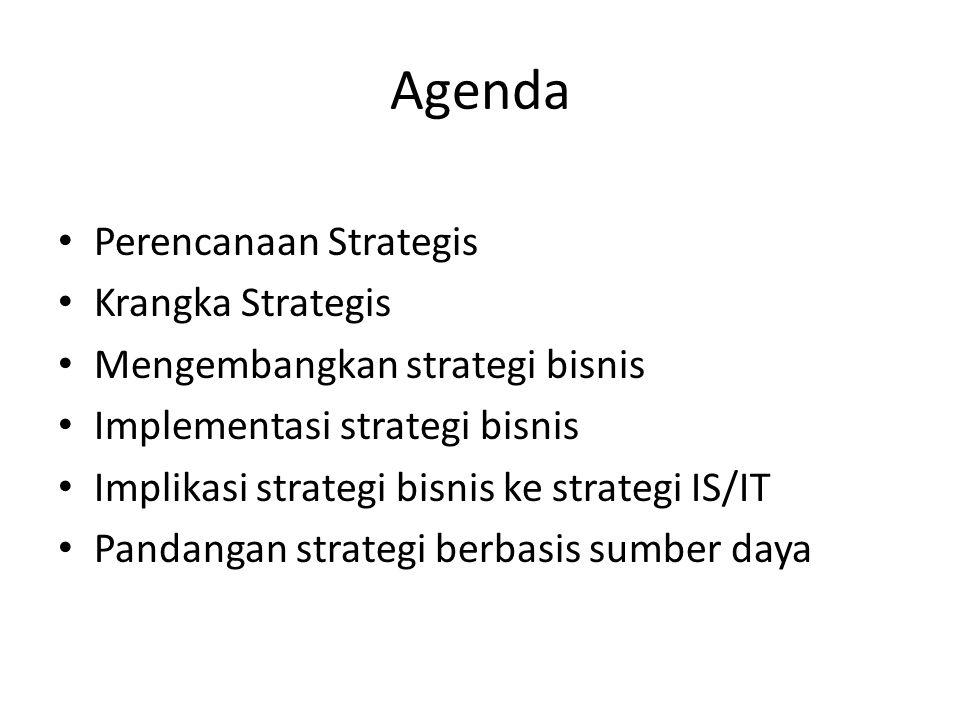 Agenda Perencanaan Strategis Krangka Strategis Mengembangkan strategi bisnis Implementasi strategi bisnis Implikasi strategi bisnis ke strategi IS/IT