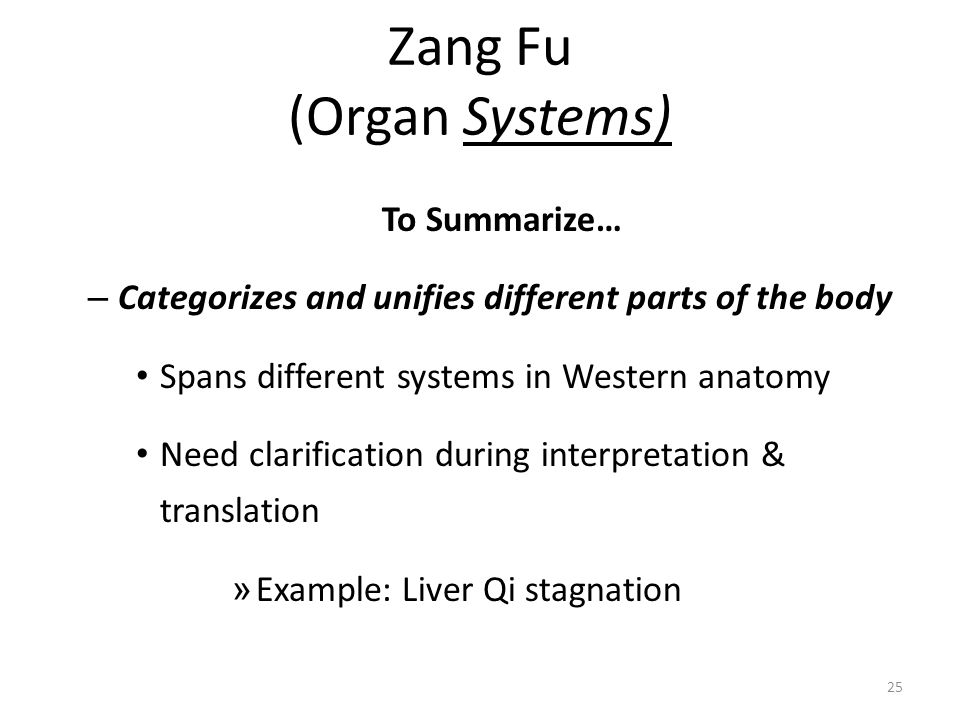 25 Zang Fu (Organ Systems) To Summarize… – Categorizes and unifies different parts of the body Spans different systems in Western anatomy Need clarifi