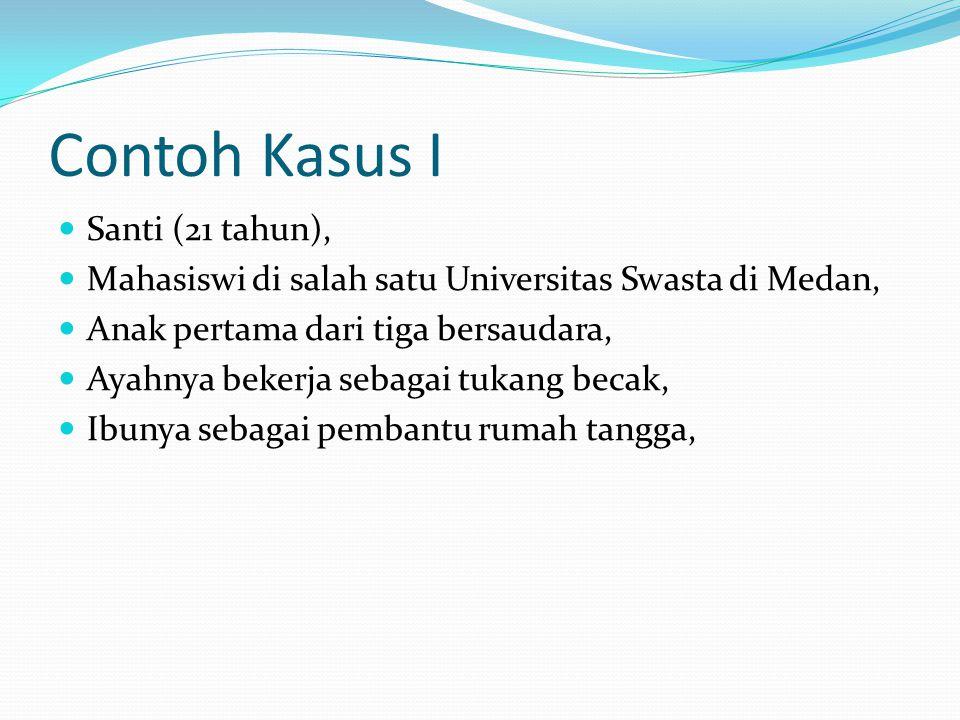 Contoh Kasus I Santi (21 tahun), Mahasiswi di salah satu Universitas Swasta di Medan, Anak pertama dari tiga bersaudara, Ayahnya bekerja sebagai tukan