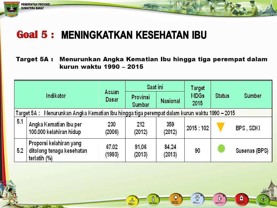 Target 5A:Menurunkan Angka Kematian Ibu hingga tiga perempat dalam kurun waktu 1990 – 2015