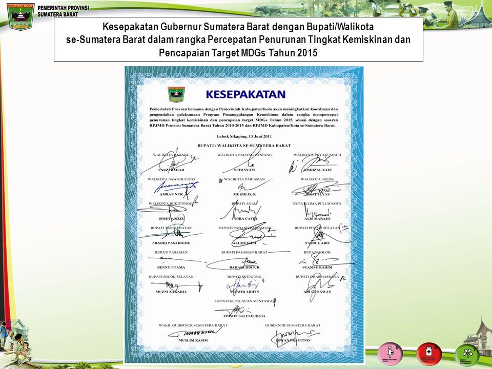 Kesepakatan Gubernur Sumatera Barat dengan Bupati/Walikota se-Sumatera Barat dalam rangka Percepatan Penurunan Tingkat Kemiskinan dan Pencapaian Targe