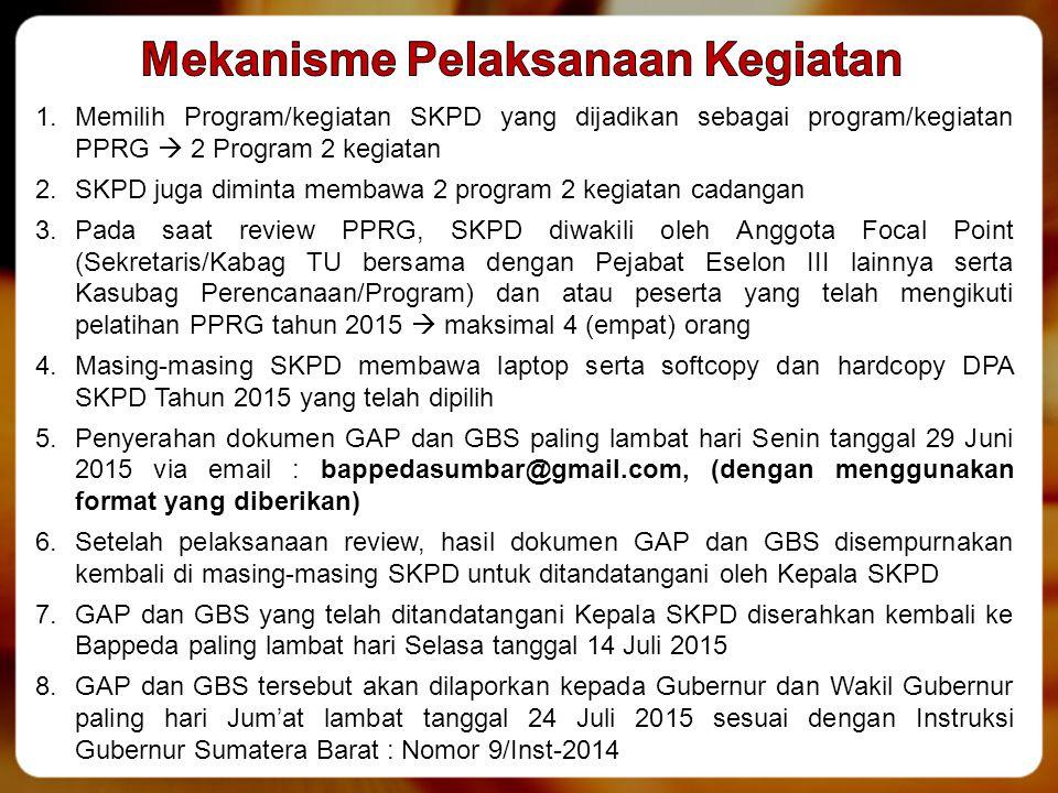 1.Memilih Program/kegiatan SKPD yang dijadikan sebagai program/kegiatan PPRG  2 Program 2 kegiatan 2.SKPD juga diminta membawa 2 program 2 kegiatan c