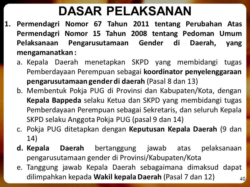 40 DASAR PELAKSANAN 1.Permendagri Nomor 67 Tahun 2011 tentang Perubahan Atas Permendagri Nomor 15 Tahun 2008 tentang Pedoman Umum Pelaksanaan Pengarus
