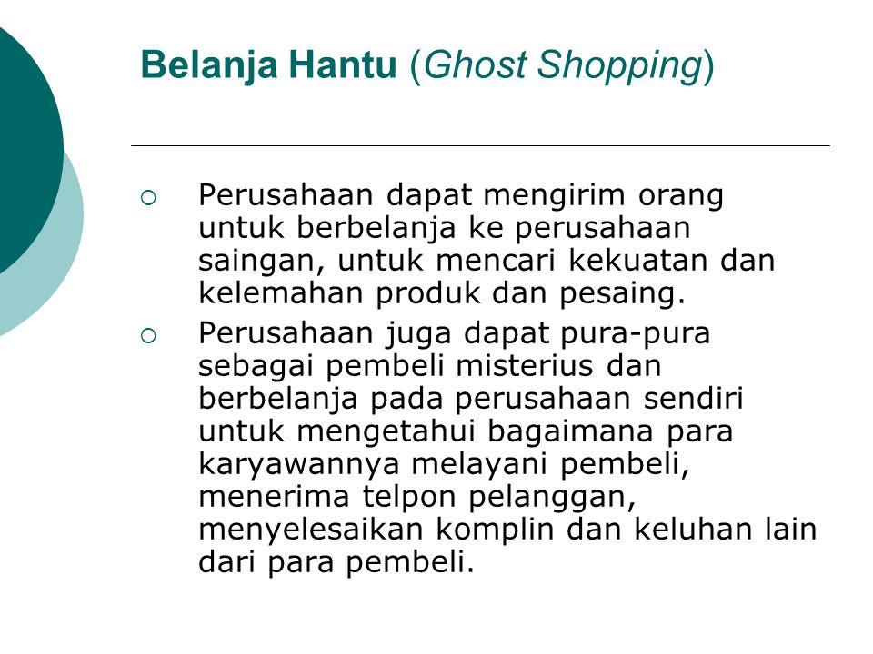 Belanja Hantu (Ghost Shopping)  Perusahaan dapat mengirim orang untuk berbelanja ke perusahaan saingan, untuk mencari kekuatan dan kelemahan produk d