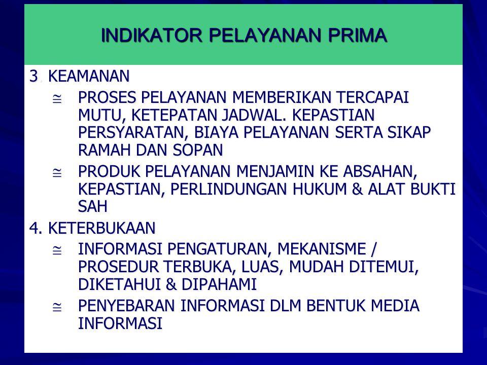 INDIKATOR PELAYANAN PRIMA 3.