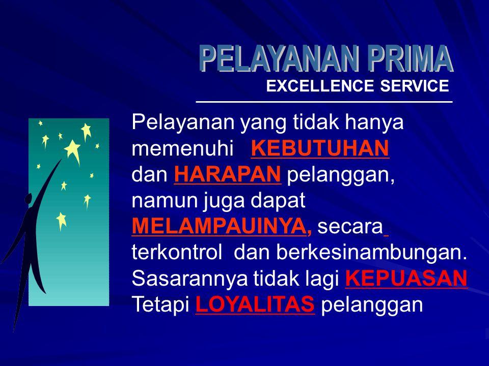 EXCELLENCE SERVICE Pelayanan yang tidak hanya memenuhi KEBUTUHAN dan HARAPAN pelanggan, namun juga dapat MELAMPAUINYA, secara terkontrol dan berkesina