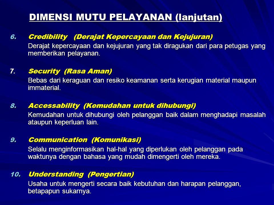 DIMENSI MUTU PELAYANAN (lanjutan) 6. Credibility (Derajat Kepercayaan dan Kejujuran) Derajat kepercayaan dan kejujuran yang tak diragukan dari para pe