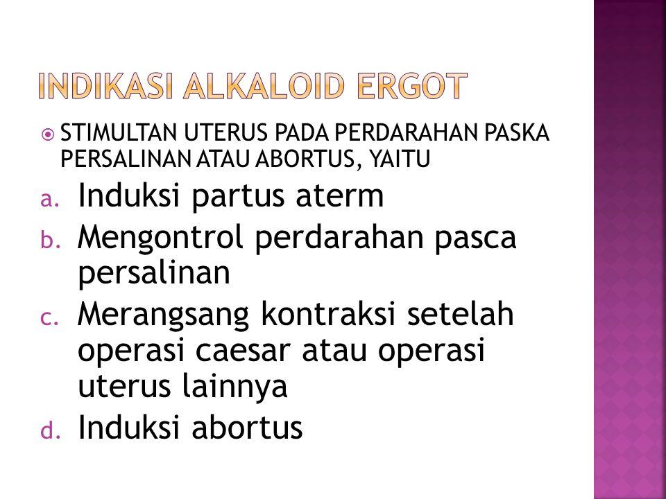  STIMULTAN UTERUS PADA PERDARAHAN PASKA PERSALINAN ATAU ABORTUS, YAITU a. Induksi partus aterm b. Mengontrol perdarahan pasca persalinan c. Merangsan