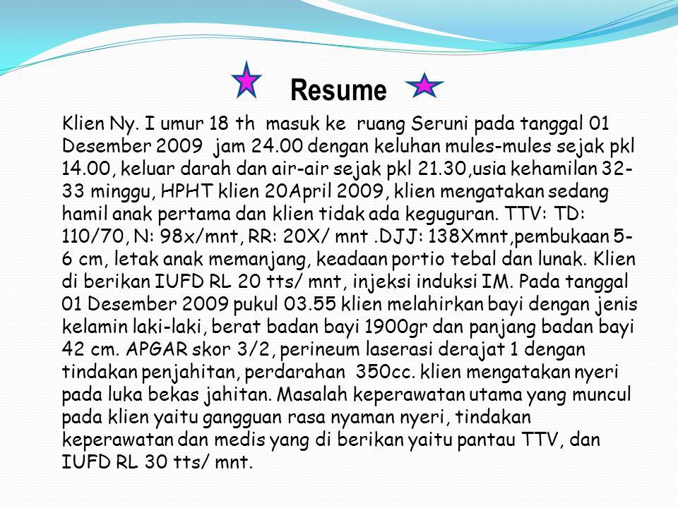 Resume Klien Ny. I umur 18 th masuk ke ruang Seruni pada tanggal 01 Desember 2009 jam 24.00 dengan keluhan mules-mules sejak pkl 14.00, keluar darah d