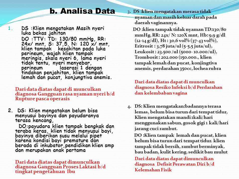 b. Analisa Data 1. DS :Klien mengatakan Masih nyeri luka bekas jahitan DO :TTV: TD: 130/80 mmHg, RR: 24x/ mnt, S: 37,5, N: 120 x/ mnt, klien tampak ke